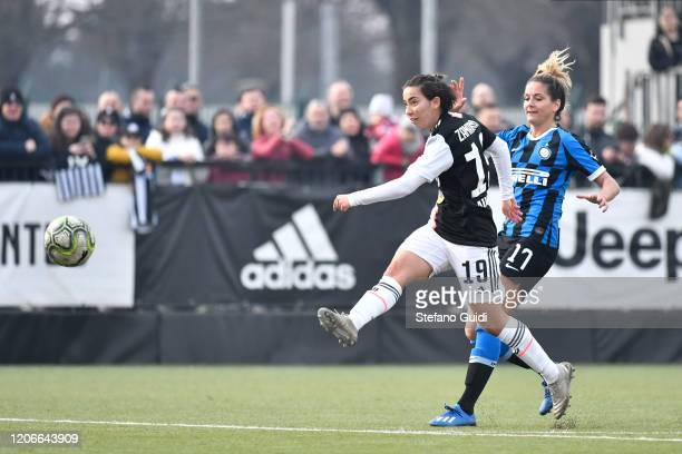 Annahita Zamanian of Juventus FC kick during the Women Serie A match between Juventus and FC Internazionale on February 16, 2020 in Vinovo, Italy.