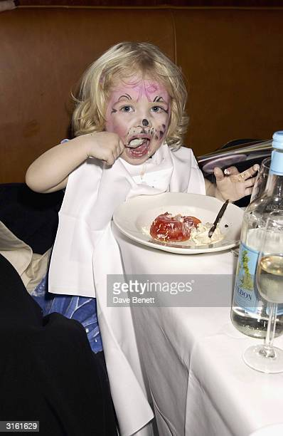 Annais Gallagher eats jelly at the Angelina Ballerina Nutcracker gala preparty on December 3rd 2002 at the St Martins hotel in London where the kids...
