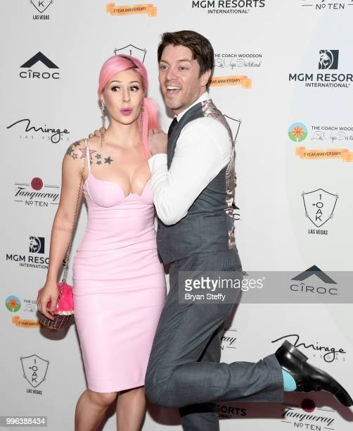 Annalee Belle and actor and television personality JD Scott attends the 5th Anniversary gala for the Coach Woodson Invitational presented by MGM...