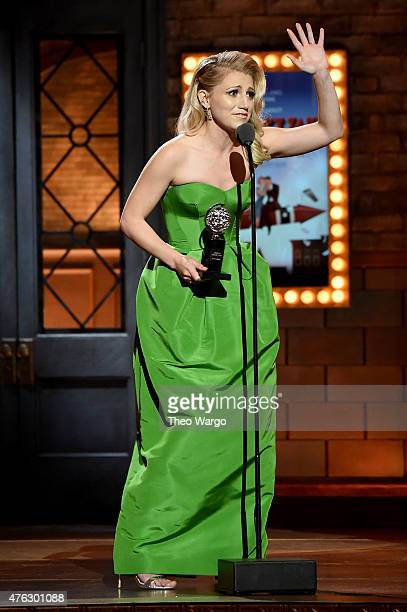 Annaleigh Ashford accepts the award for Best Featured Actress in a Play for You Can't Take It With You onstage during the 2015 Tony Awards at Radio...