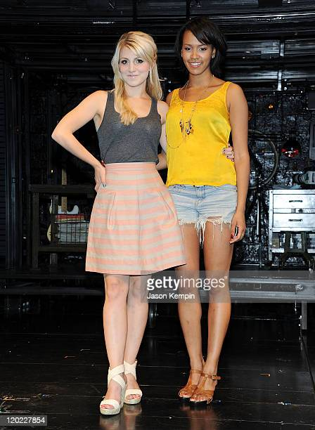Annaleigh Ashford and Corbin Reid attend the Rent OffBroadway Cast photocall at New World Stages on August 1 2011 in New York City