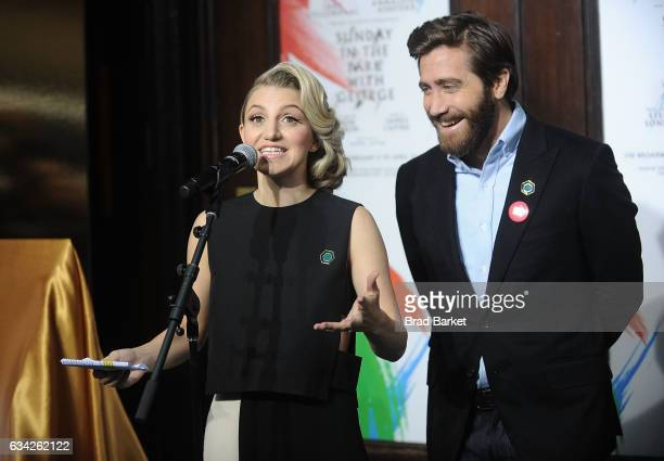 Annaleigh Ashford and Jake Gyllenhaal attend the Hudson Theatre reopening ribbon cutting at Hudson Theatre on February 8 2017 in New York City