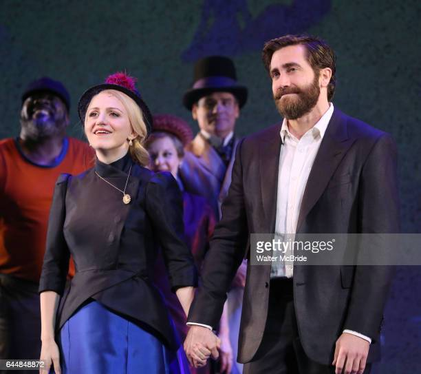 Annaleigh Ashford and Jake Gyllenhaal during the opening night performance curtain call bows for 'Sunday in the Park with George' at the Hudson...