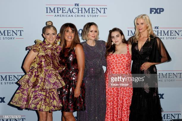 "Annaleigh Ashford, Monica Lewinsky, Sarah Paulson, Beanie Feldstein and Mira Sorvino attend the premiere of FX's ""Impeachment: American Crime Story""..."