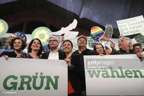 Annalena Baerbock 2 from L Chairwoman Sven Giegoldl Ska Keller colead candidates for the German Greens Party Robert Habeck Chairman and other members...