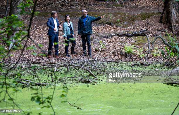 Annalena Baerbock, chancellor candidate and co-leader of the German Greens Party, and party co-leader Robert Habeck on a short hike through the...