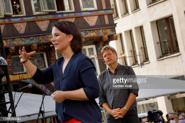 Annalena Baerbock , co-leader of the German Greens Party and Greens Party chancellor candidate, speaks to supporters at the launch of the party's...