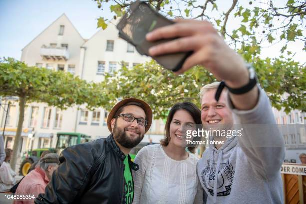 Annalena Baerbock coleader of the German Greens Party attends a Greens Party election campaign event ahead of Bavarian state elections on October 9...