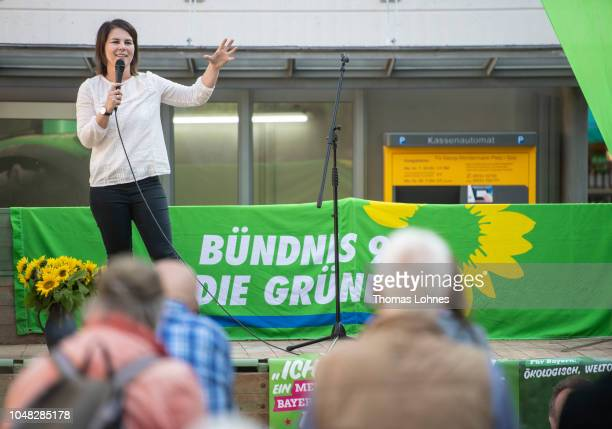 Annalena Baerbock coleader of the German Greens Party speaks at a Greens Party election campaign event ahead of Bavarian state elections on October 9...