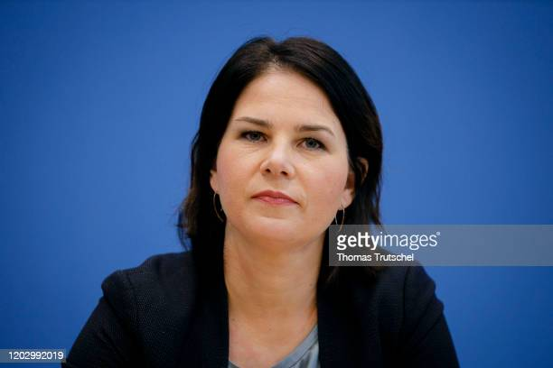 Annalena Baerbock, co-leader of the German Greens Party , speaks to the media on February 24, 2020 in Berlin, Germany.