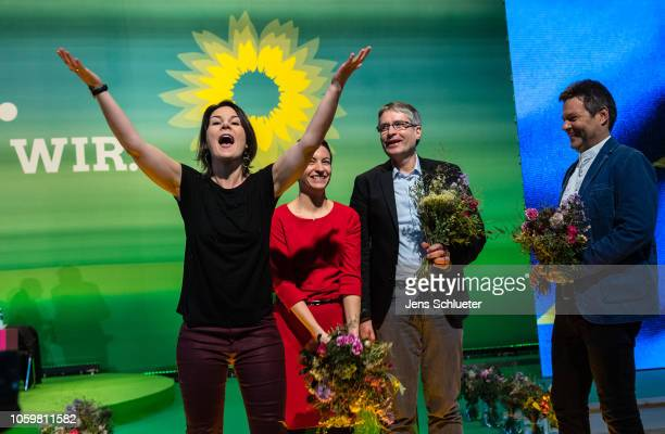Annalena Baerbock coleaders of the German Greens Party Franziska Maria Ska Keller and Sven Giegold the two top candidates for the upcoming european...