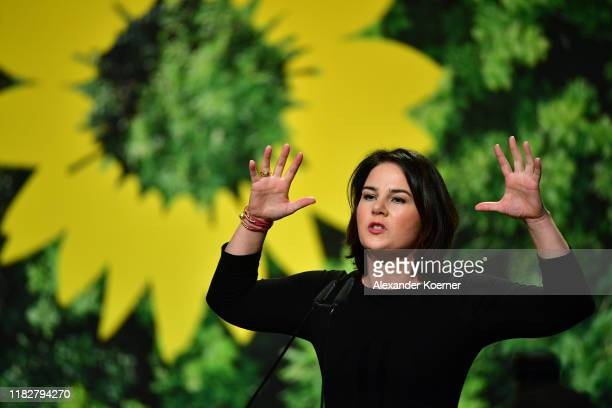 Annalena Baerbock delivers a speech as federal executive board during a federal delegates conference of the German Greens Party on November 16, 2019...