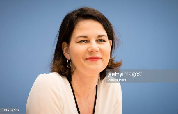 Annalena Baerbock federal chairman of Alliance 90/The Greens on March 12 2018 in Berlin Germany Topic is the coalition agreement