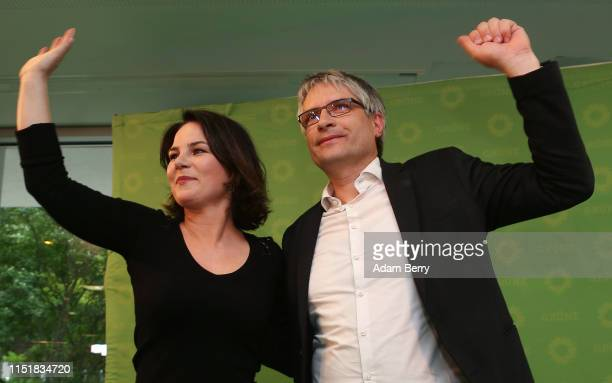 Annalena Baerbock head of the German Green party and Sven Giegold lead candidate for the German Green party in the European elections speak to...