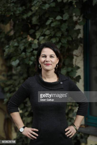 Annalena Baerbock new coleader of the German Greens Party poses for a brief portrait at party headquarters on February 19 2018 in Berlin Germany...