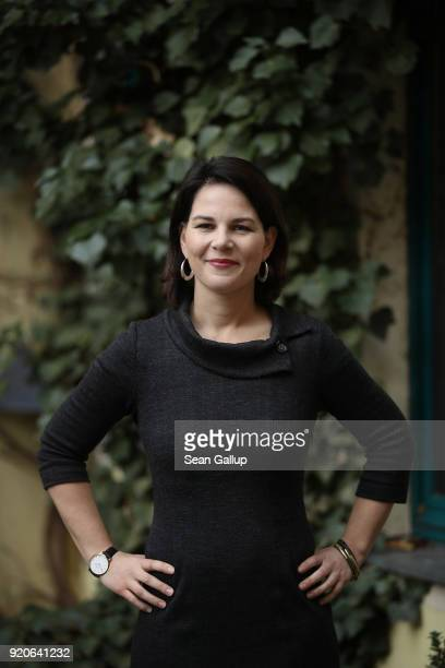 Annalena Baerbock, new co-leader of the German Greens Party , poses for a brief portrait at party headquarters on February 19, 2018 in Berlin,...
