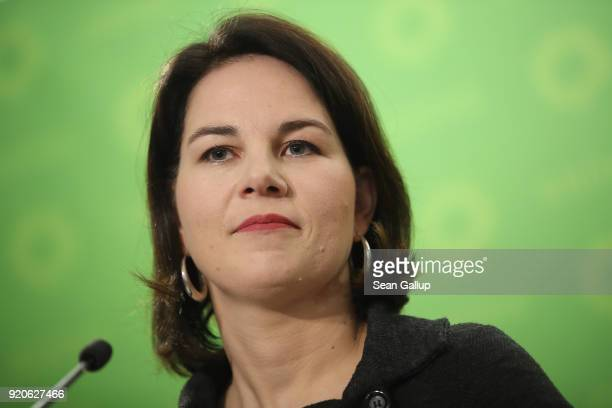 Annalena Baerbock new coleader of the German Greens Party speaks to the media at party headquarters on February 19 2018 in Berlin Germany Baerbock...