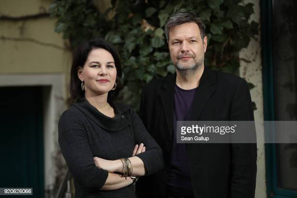 Annalena Baerbock und Robert Habeck the new coleaders duo of the German Greens Party pose for a brief portrait at party headquarters on February 19...