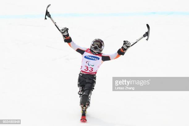AnnaLena Forster of Germany celebrates after competes in the Women's Sitting Slalom at Jeongseon Alpine Centre on Day 9 of the PyeongChang 2018...