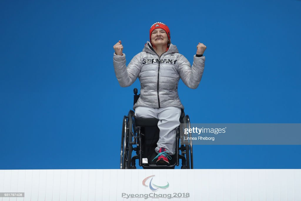 Anna-Lena Forster of Germany celebrates during the medal ceremony of Women's Super Combined Slalom, Sitting during day five of the PyeongChang 2018 Paralympic Games on March 14, 2018 in Pyeongchang-gun, South Korea.