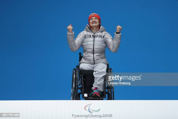 AnnaLena Forster of Germany celebrates during the medal ceremony of Women's Super Combined Slalom Sitting during day five of the PyeongChang 2018...