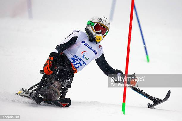 AnnaLena Forster of Germany competes in the Women's Slalom 1st Run Sitting during day five of Sochi 2014 Paralympic Winter Games at Rosa Khutor...