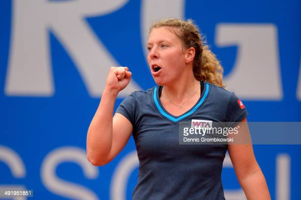 AnnaLena Friedsam of Germany celebrates after in her match against LisaMaria Moser of Austria during Day 2 of the Nuernberger Versicherungscup on May...
