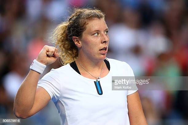AnnaLena Friedsam of Germany celebrates in her fourth round match against Agnieszka Radwanska of Poland during day seven of the 2016 Australian Open...