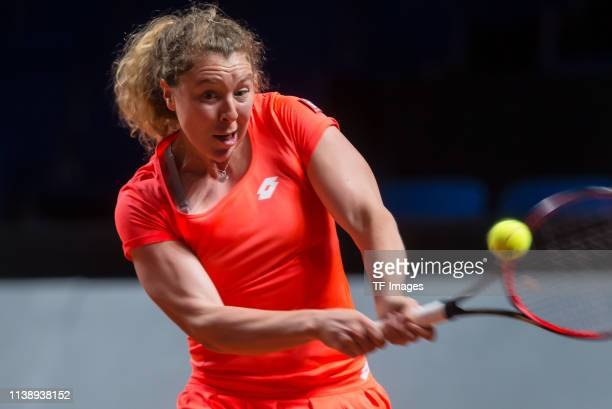 AnnaLena Friedsam of Germany controls the ball during day 2 of the Porsche Tennis Grand Prix at PorscheArena on April 23 2019 in Stuttgart Germany