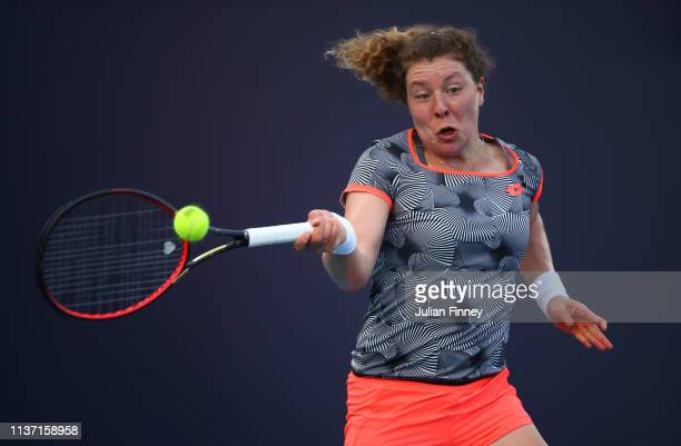 AnnaLena Friedsam of Germany in action against Ajla Tomljanovic of Australia during day three of the Miami Open tennis on March 20 2019 in Miami...