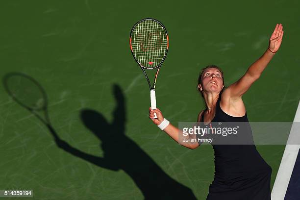AnnaLena Friedsam of Germany in action against Nicole Gibbs of USA during day two of the BNP Paribas Open at Indian Wells Tennis Garden on March 8...
