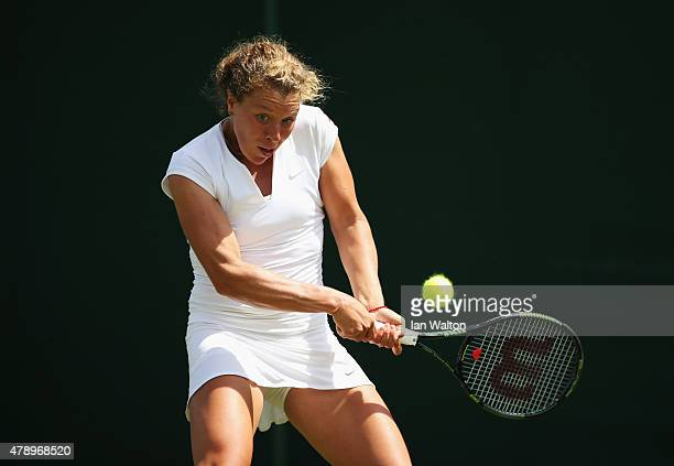 AnnaLena Friedsam of Germany in action in her Ladies's Singles first round match against Vitalia Diatchenko of Russia during day one of the Wimbledon...
