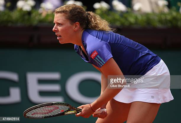 AnnaLena Friedsam of Germany in action in her Women's Singles match against Serena Williams of the United States on day five of the 2015 French Open...