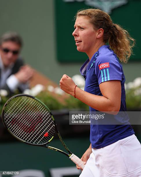 AnnaLena Friedsam of Germany looks on in her Women's Singles match against Serena Williams of the United States on day five of the 2015 French Open...