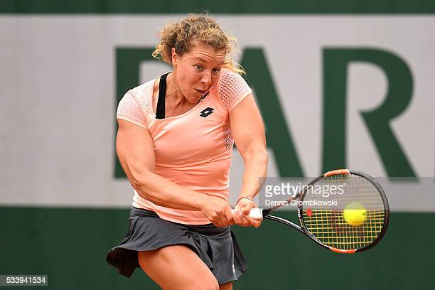 AnnaLena Friedsam of Germany plays a backhand during the Men's Singles first round match against Daria Kasatkina of Russia on day three of the 2016...
