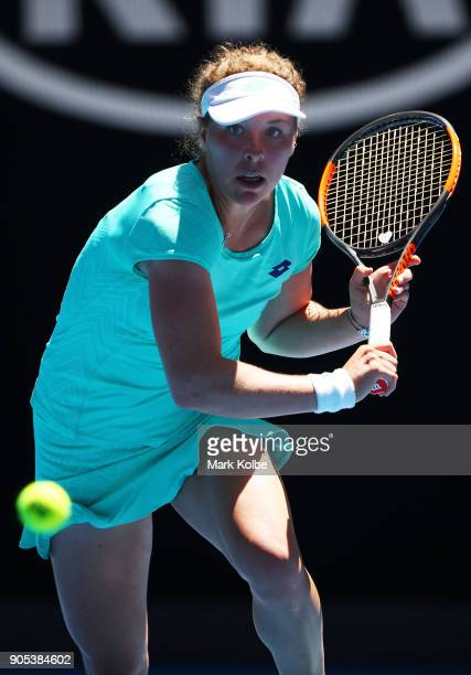 AnnaLena Friedsam of Germany plays a backhand in her first round match against Angelique Kerber of Germany on day two of the 2018 Australian Open at...