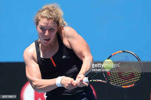 AnnaLena Friedsam of Germany plays a backhand in her second round match against Qiang Wang of China during day three of the 2016 Australian Open at...