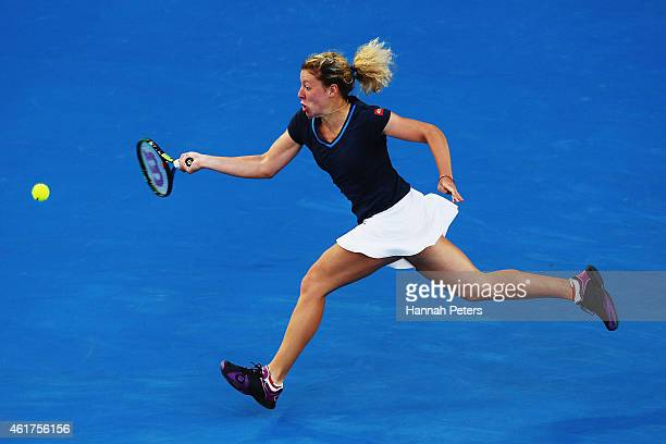 AnnaLena Friedsam of Germany plays a forehand in her first round match against during day one of the 2015 Australian Open at Melbourne Park on...