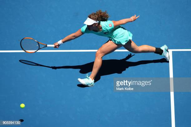 AnnaLena Friedsam of Germany plays a forehand in her first round match against Angelique Kerber of Germany on day two of the 2018 Australian Open at...