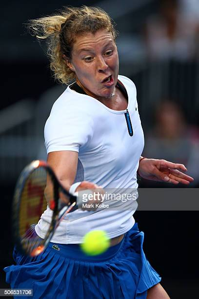 AnnaLena Friedsam of Germany plays a forehand in her fourth round match against Agnieszka Radwanska of Poland during day seven of the 2016 Australian...