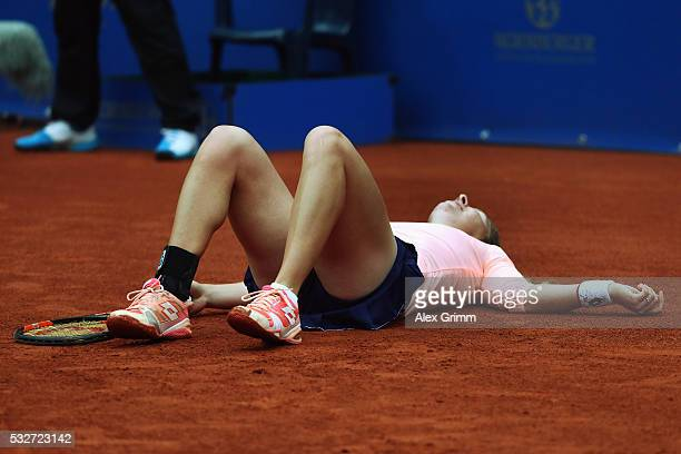 AnnaLena Friedsam of Germany reacts during her match against Annika Beck of Germany during day six of the Nuernberger Versicherungscup 2016 on May 19...