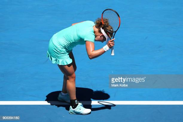 AnnaLena Friedsam of Germany reacts in her first round match against Angelique Kerber of Germany on day two of the 2018 Australian Open at Melbourne...