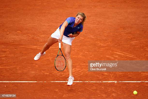 AnnaLena Friedsam of Germany served in her Women's Singles match against Serena Williams of the United States on day five of the 2015 French Open at...