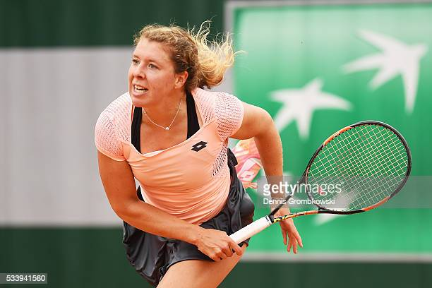 AnnaLena Friedsam of Germany servesmduring the Women's Singles first round match against Daria Kasatkina of Russia on day three of the 2016 French...