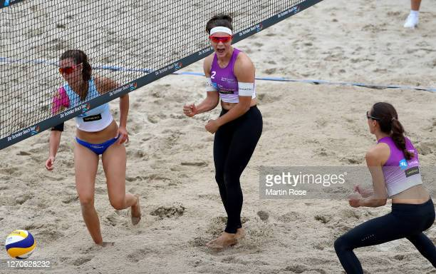 Anna-Lena Grüne and Kira Walkenhorst of Germany celebrate during the match against Lisa-Sophie Kotzan and Natascha Niemczyk of Germany on day two of...