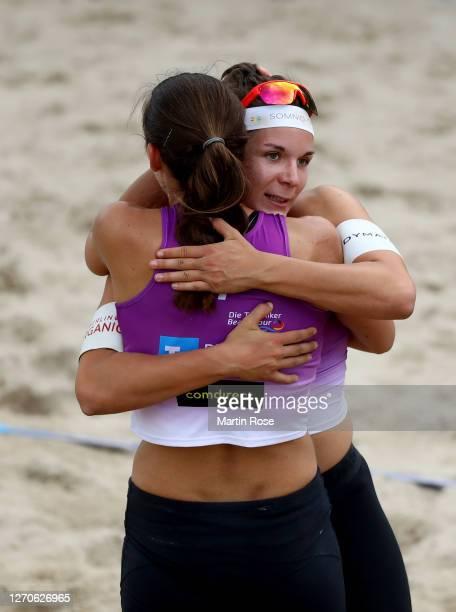 Anna-Lena Grüne and Kira Walkenhorst of Germany celebrate victory over Lisa-Sophie Kotzan and Natascha Niemczyk of Germany on day two of the German...