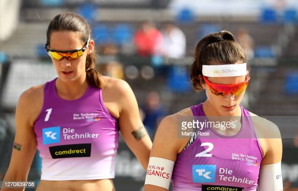Anna-Lena Grüne and Kira Walkenhorst of Germany during the match against Lisa-Sophie Kotzan and Natascha Niemczyk of Germany on day two of the German...