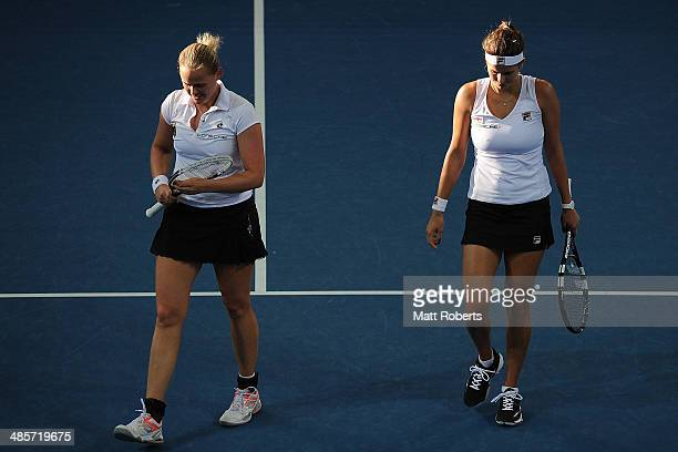 AnnaLena Groenefeld and Julia Goerges of Germany walk to the baseline in their doubles match against Ashleigh Barty and Casey Dellacqua of Australia...