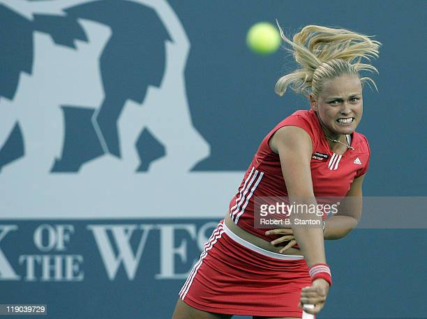 Anna-Lena Groenefeld in action in the semi final match against Kim Clijsters, which Clijsters won 6-4, 6-0 at the 2005 Bank of the West Classic held...