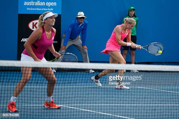 AnnaLena Groenefeld of Germany and Coco Vandeweghe of the United States copmpete in their first round match against Carina Witthoeft of Germany and...